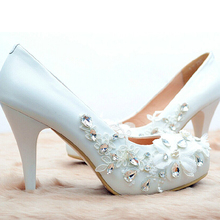 Elegant White Crystal Woman Wedding Dress Shoes Sparkling Woman Bridal Shoes Lady Round Toe Evening Party Shoes Free Shipping