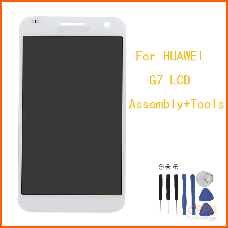 For Huawei Ascend G7 White Full LCD Display Screen Panel Monitor + Touch Screen Digitizer Glass Sensor Assembly 100% Test replacement original touch screen lcd display assembly framefor huawei ascend p7 freeshipping