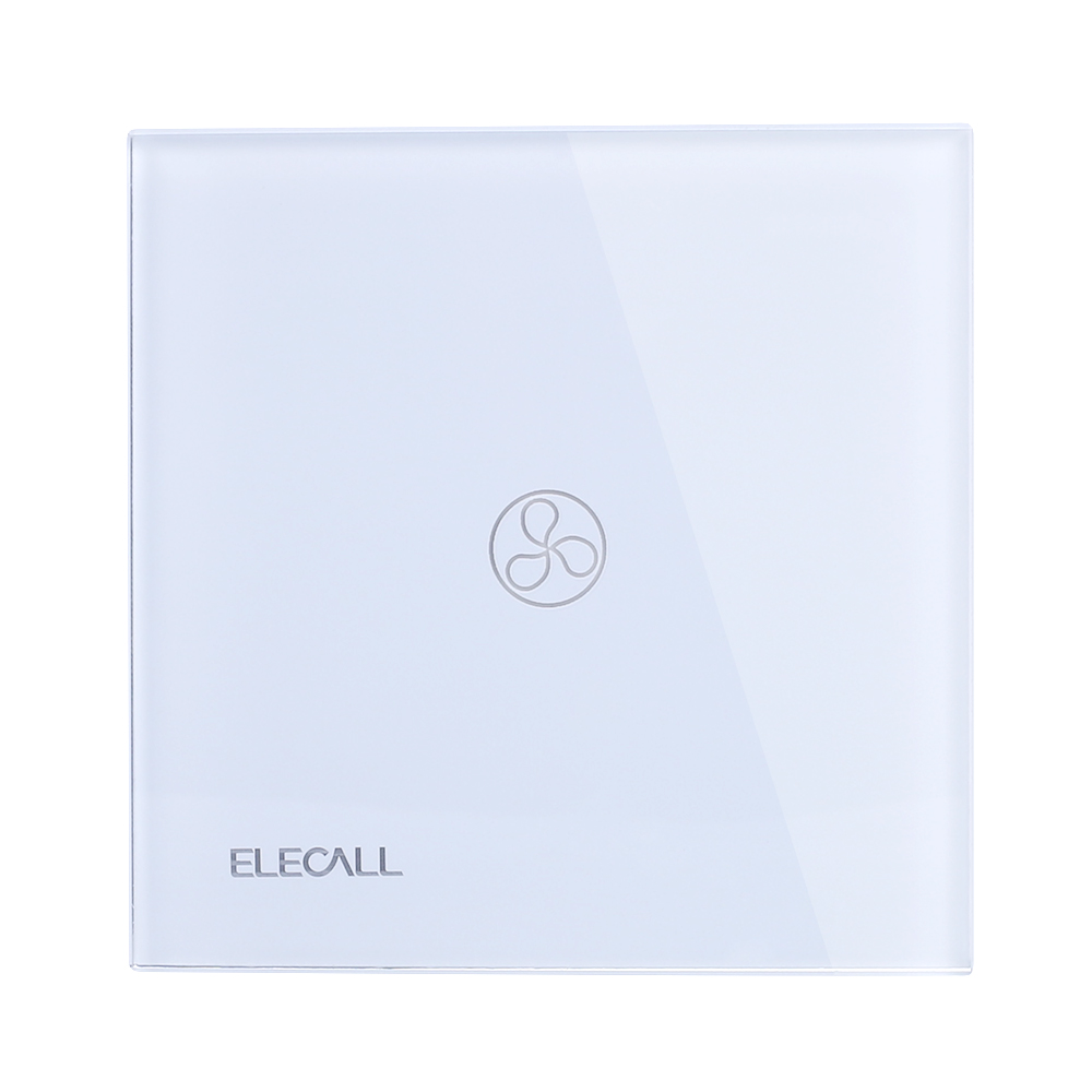 ELECALL Remote Control Switch 1 Gang 1 Way Smart Wall Touch Switch+LED Indicator Crystal Glass Switch Panel  SK-A801FY-EU makegood eu standard smart remote control touch switch 2 gang 1 way crystal glass panel wall switches ac 110 250v 1000w