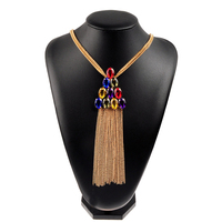 Newest Women Fashion Colorful Glass Long Tassel Sterling Rhinestone Choker Jewelry Necklace For Women Party N0040