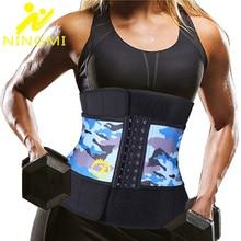 NINGMI Neoprene Body Shaper Women Waist Trainer SPA Suana Weight Loss Modeling Strap Corset Cincher Belt with Phone Pocket