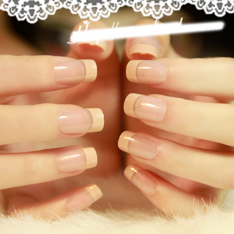 French Nails Tips Natural Simple Design 24pcs Short Full Cover faux ...