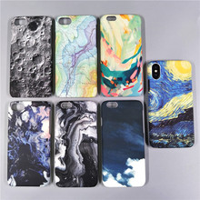 Fashion Moon Map Marble Case For iPhone X 8 7 7Plus Case Oil Painted Ultra Thin Hard Cover Phone Case For iPhone 5 5S 6 6S 6Plus