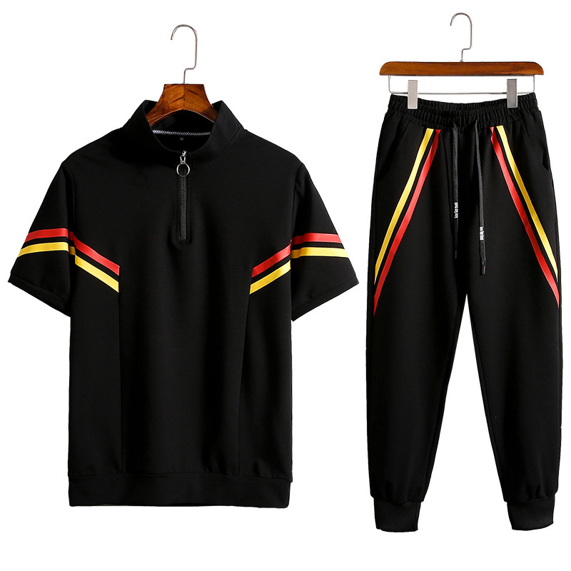 Rlyaeiz Brand New Fashion Sporting Suits Men Sweat Suit 2019 Summer Casual Striped T Shirt + Ankle-length Pants Tracksuit Set