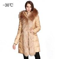 COUTUDI 2018 New Real Fur Coat Winter Jacket Women Long Parka Detachable Big Rabbit Fur Collar Hood Thick Warm Woman Winter Coat