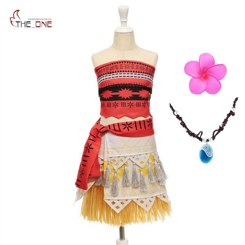 MUABABY Girls Moana Costume Mom and Daughter Dresses Summer Moana Princess Cosplay Outfit Kids Birthday Party Suppliers Necklace