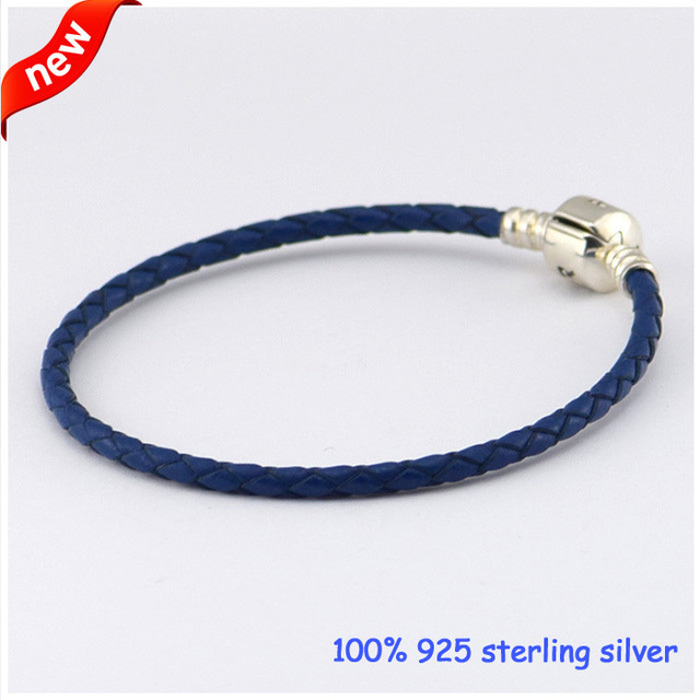 Compatible With European Jewelry Blue Leather Chain Bracelets with Authentic 925 Sterling Silver Clasp Clip Wholesale