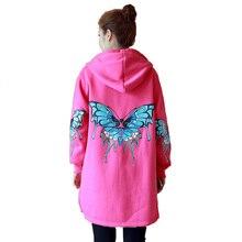 5xl plus big size sweatshirts women spring autumn winter 2017 feminina black butterfly hooded jacket fleece coat female A1593