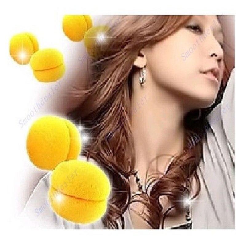 Kemei 24 шт./лот желтые шарики мягкой губкой Уход за волосами Бигуди Ролики Pro