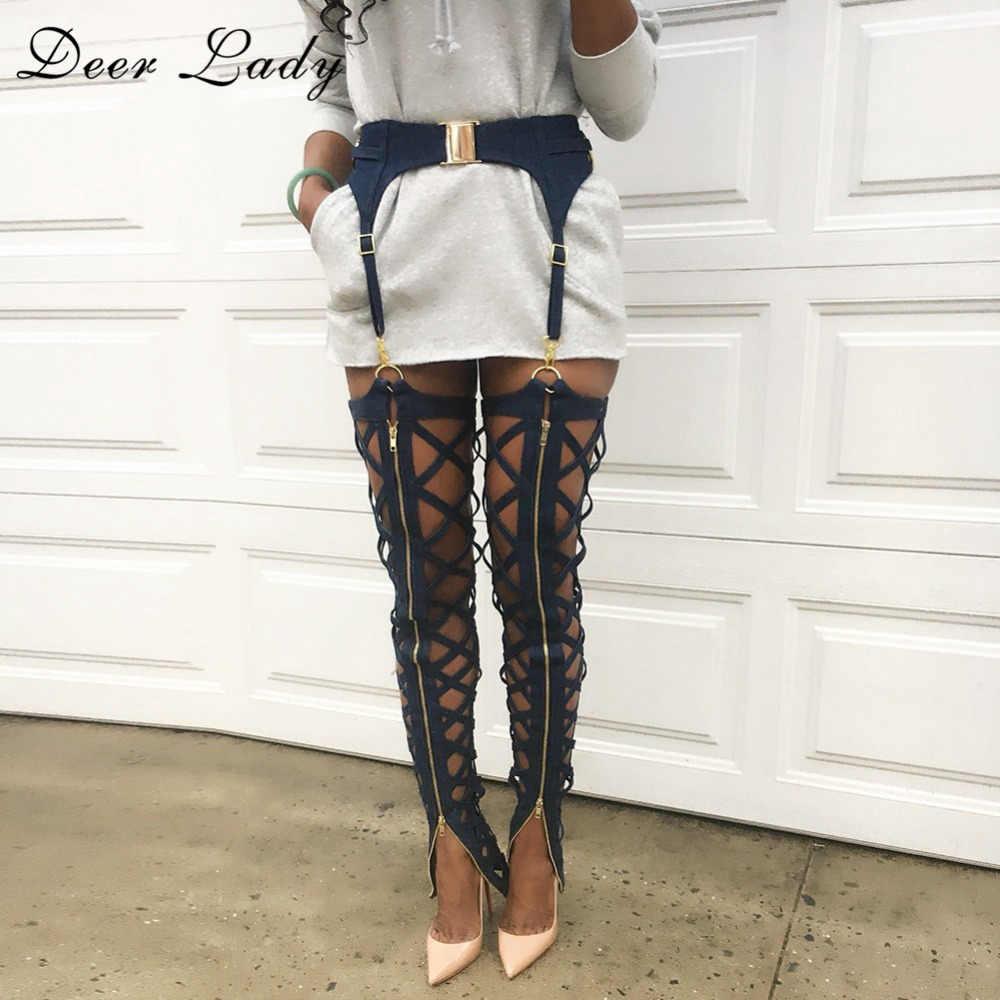 DeerLady 2019 Leggings สีดำผู้หญิงสูงเอวกางเกงผ้าพันคอผ้าพันคอ Legging เซ็กซี่ Bodycon กางเกงขายาวซิป Hollow OUT กางเกงดินสอ