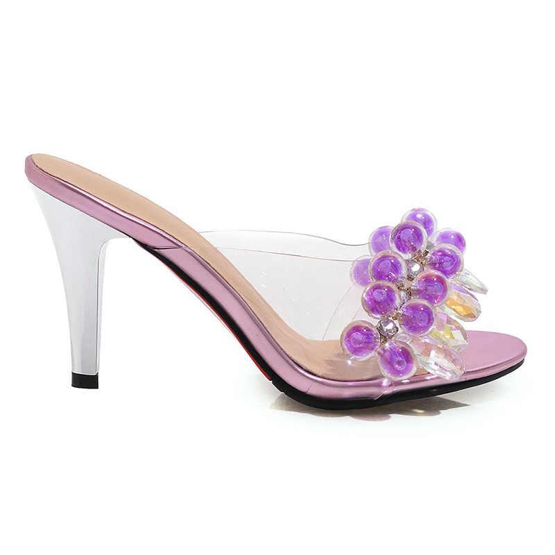 BEIJO Molhado Plus size 48 Mulher Peep Toe calçados De Salto Alto Chinelos Sapatos Femininos Mulas lâminas De Pvc Transparente Sapatos Mulher verão