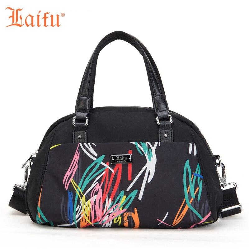 Laifu Fashion Women Handbag Nylon Crossbody Bag Colorful Geometric Graffiti Shoulder Bag Work Travel Shopping