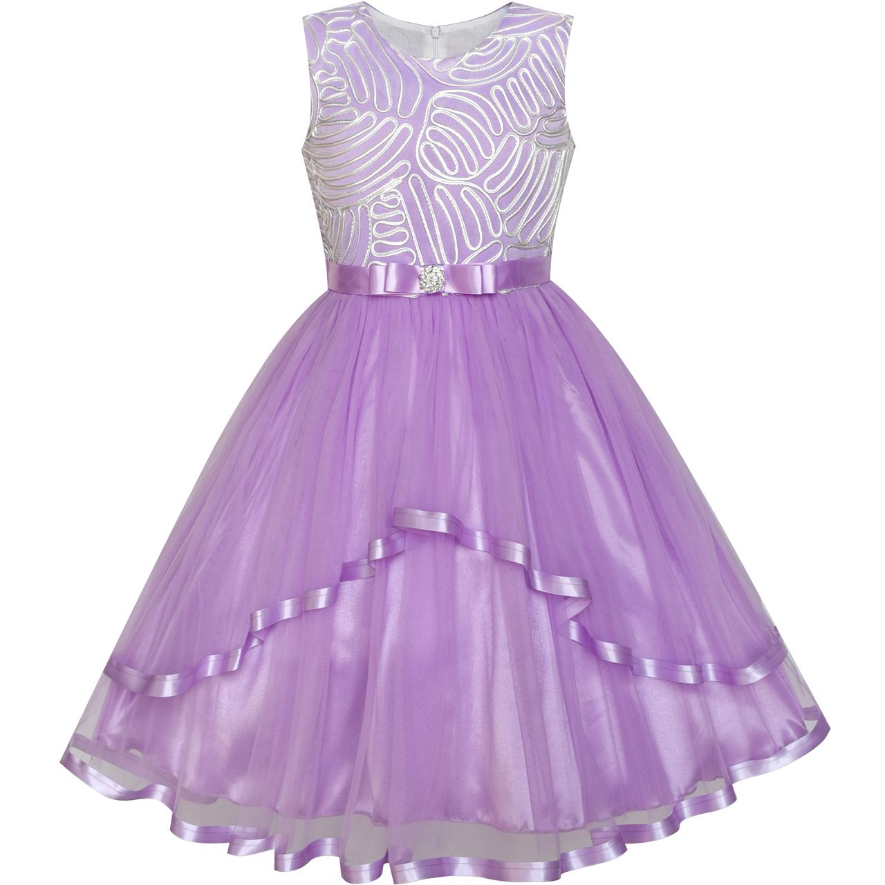 Sunny Fashion Flower Girl Dress Purple Belted Wedding Party Bridesmaid 2018 Summer Princess Dresses Kids Clothes Size 4-12 summer princess wedding bridesmaid flower girl dress for child wear kids clothes white party tutu dresses for girl 3 12y