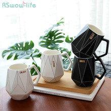 Creative Polygonal Ceramic Mug Office Coffee Milk Cup Couple Cute Home Furnishings Gifts