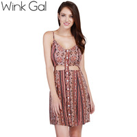 Wink Gal Sexy Mini Dress Floral Dress Summer Casual Sleeveless Boho Party Beach Dresses 3134