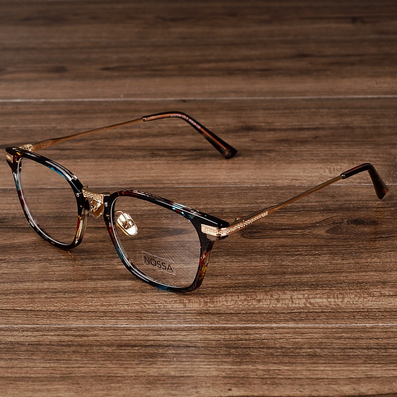 NOSSA Brand Designer Women And Men Transparent Eyeglasses Big Frame Floral Eyewear Vintage Myopia Prescription Spectacles Frames