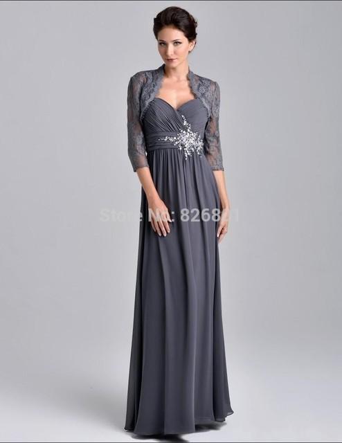 Nova chegada cinza mãe da noiva vestidos Plus Size mãe de vestidos de noiva com jaqueta de casamento M5004