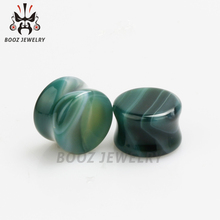 pair selling ear plugs stone tunnels glass gauges body jewelry piercing expander free shipping