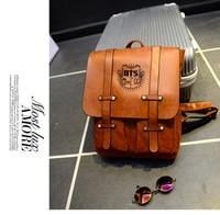 Kpop Home BTS Bangtan Boys Group The Same Bag PU Leather Backpack Length 40cm Width 28cm
