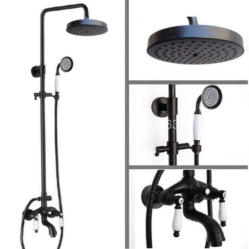 Black Oil Rubbed Brass Bathroom Rainfall Shower Faucet 7.7 inch Round Shower Head Set Bathtub Tap Two Ceramic Handle ars402