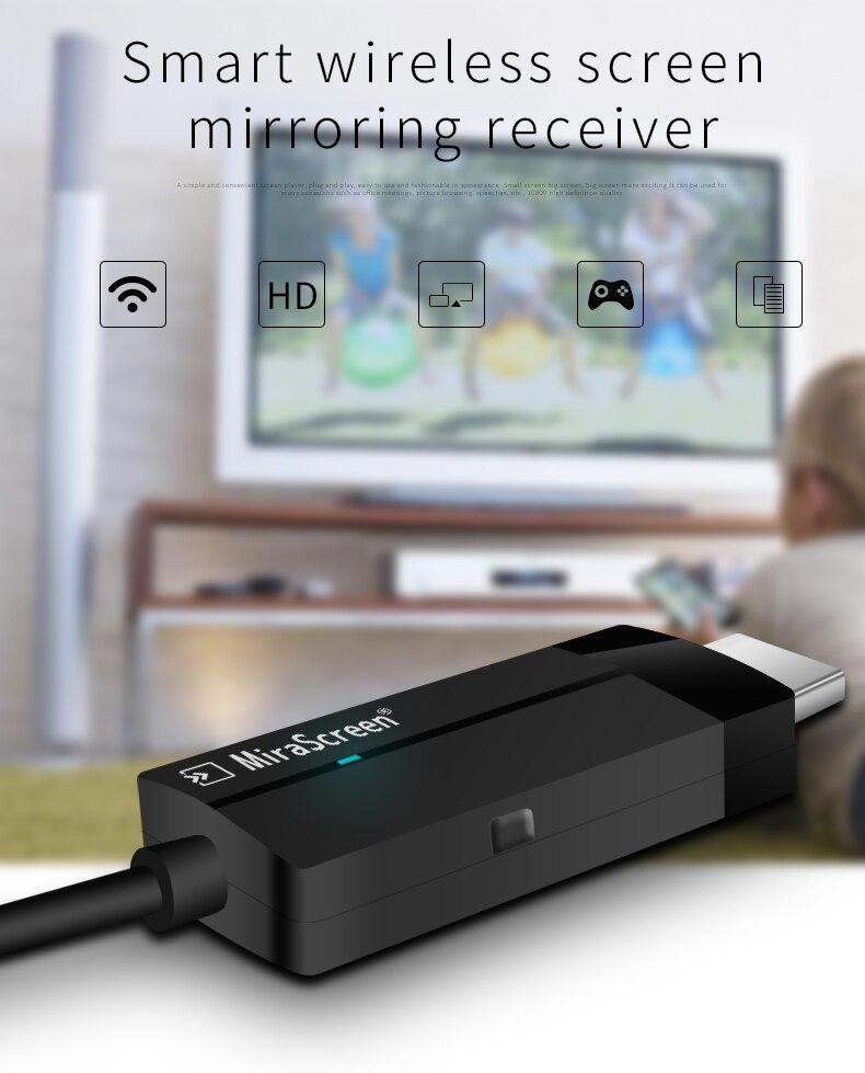 Miroir sans fil Wifi affichage Dongle HDMI 1080 P HD écran intelligent miroir miracast airplay pour IPhone X 6 7 8 IOS téléphone à la télévision