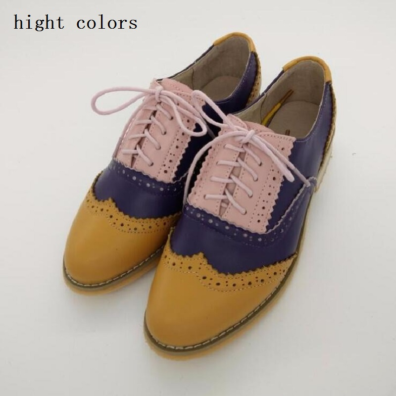 ФОТО Fashion Genuine Leather Shoes Classics Lace Up Handmade Women's Oxford Top Quality Dress Shoes Women Flats Shoes Zapatos Mujer