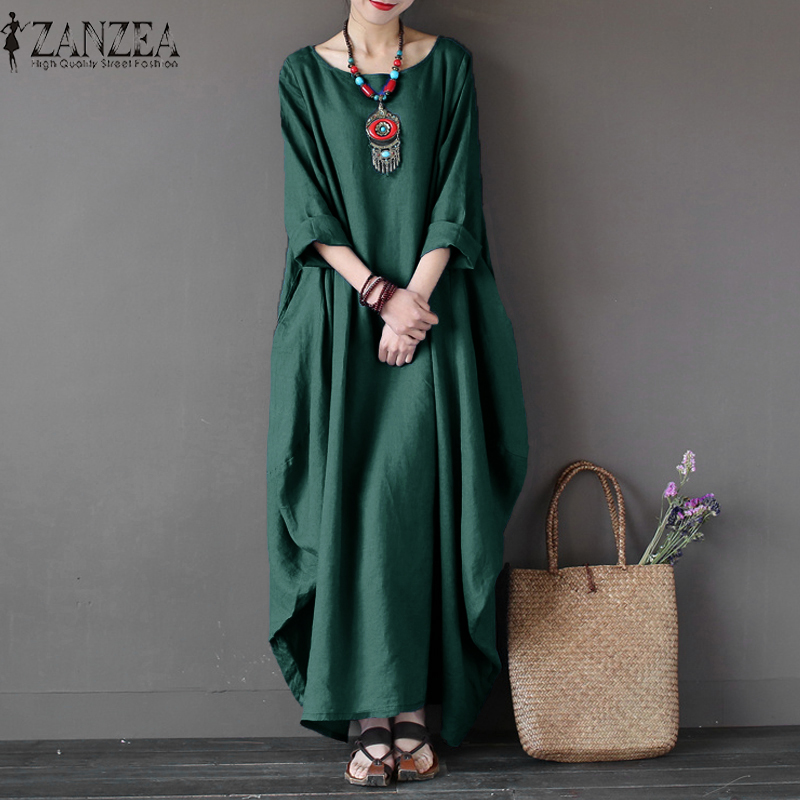2019 ZANZEA Womens Crewneck 3/4 Sleeve Baggy Maxi Long Casual Loose Party Shirt Dress Kaftan Linen Solid Robe Vestido Plus Size