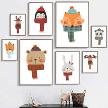 Elk Fox Bear Tiger Panda Rabbit Penguin Nordic Posters And Prints Wall Art Canvas Painting Animals Pictures Kids Room Decor