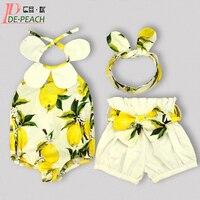 Sevimli Bebek Giyim Seti Yeni Bebek Kız Giysileri Moda Kolsuz Tulum + Kısa + Bantlar Noel Eşofman Çiçek 3 takım/paket