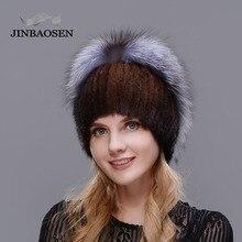 JINBAOSEN 2018 Nuovo stile cappello di pelliccia nero all ingrosso pelliccia  di visone pelliccia di volpe del cappello di invern. caedff18c5eb