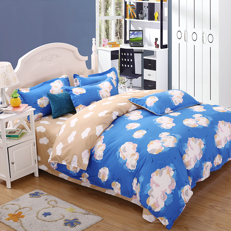 cartoon 100 polyester children adult cloud pattern bedding sets quilt set bedclothes pillowcase linens home