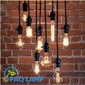 Edison Vintage lâmpada pingente luzes preto baquelite E26 E27 lâmpada de fio de botão bares de café luminária