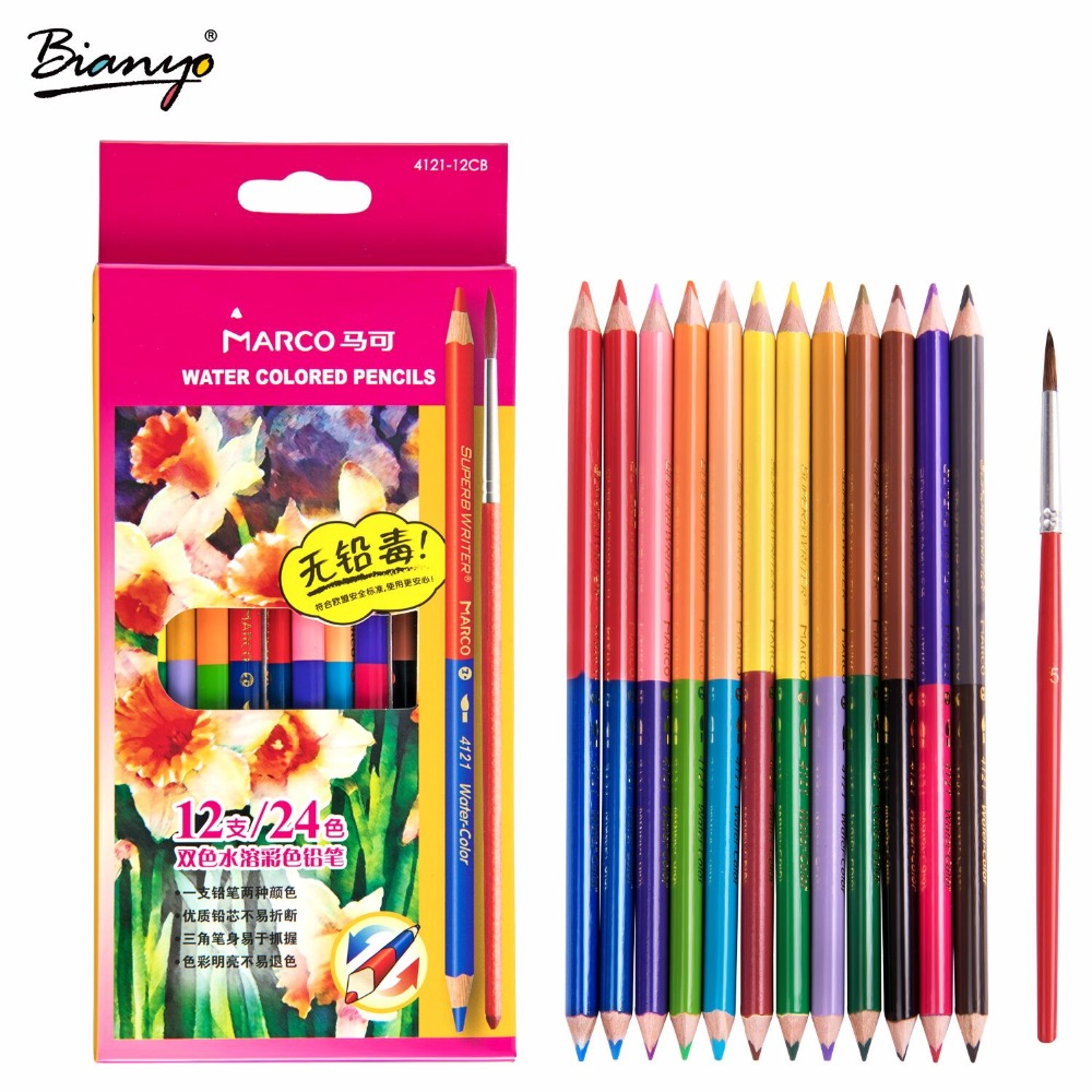 Marco 6/12Color Watercolor Pencil Double Head Water Soluble Pen Set For School Student Sketch Painting Stationery Art Supplies w110145 soft head fine water mark pen 48 60 color beginners painting professional equipment advanced ink student art suit