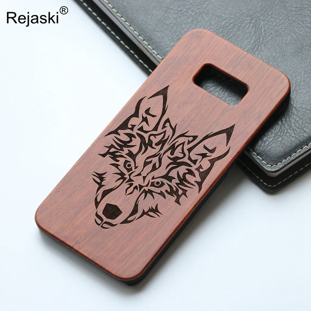 best cheap 6e025 1d8a2 US $7.46 5% OFF|HOT Retro Wood Phone Cover For Samsung Galaxy S7 Edge Case  Bamboo Wooden Case Wolf Anchor Skull Design Mobile Cover For S7Edge-in ...