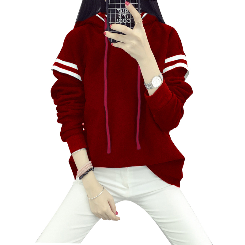 24f3e10f69a Korean Style Streetwear Women Hoodie Plus Size 3XL 4XL 5XL Sweatshirts  Drawstring Color Block Pullover Hooded Tops female tunics