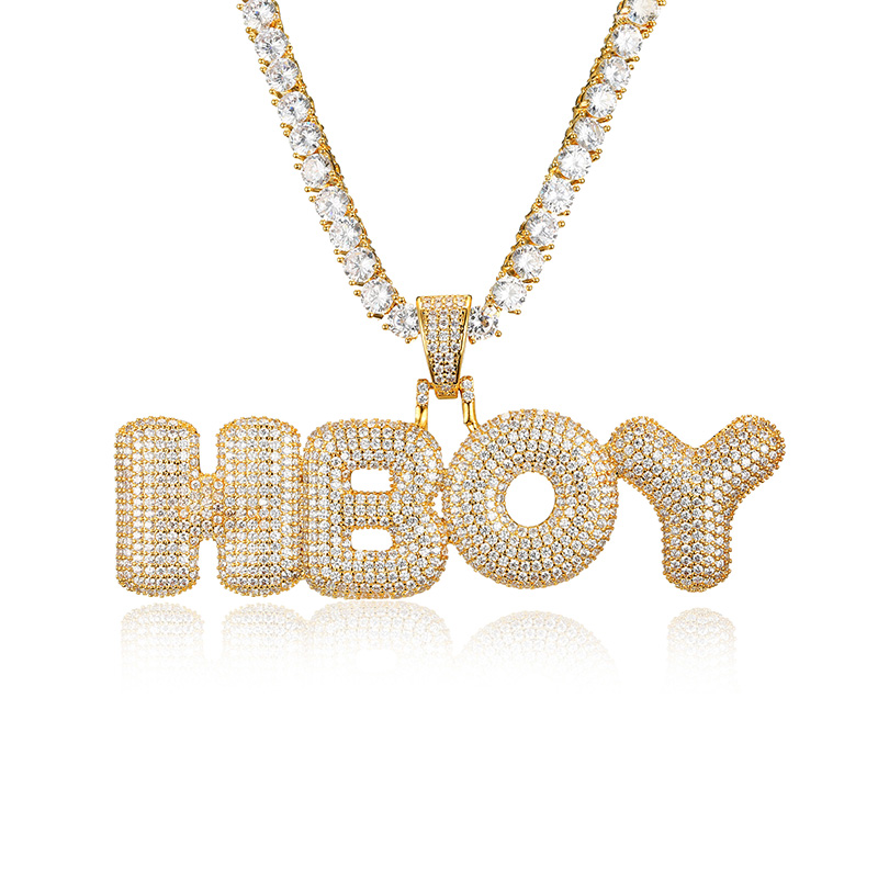 Custom Name Bubble Letters Chain Pendants Necklaces Men's Zircon HipHop Jewelry With 5MM Gold Silver Tennis Chain Rope Necklace
