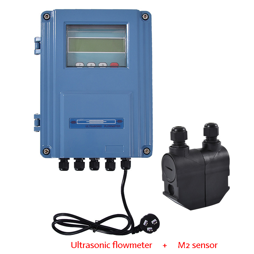 TDS-100F Professional Ultrasonic Flowmeter + M2 Wall-mount Transducer LED Digital Ultrasonic Liquid Flow Meter DN15mm-6000mm