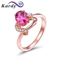 Unique Pink Natural Tourmaline Ring Diamond Wedding Engagement 14k Rose Gold Band for Women