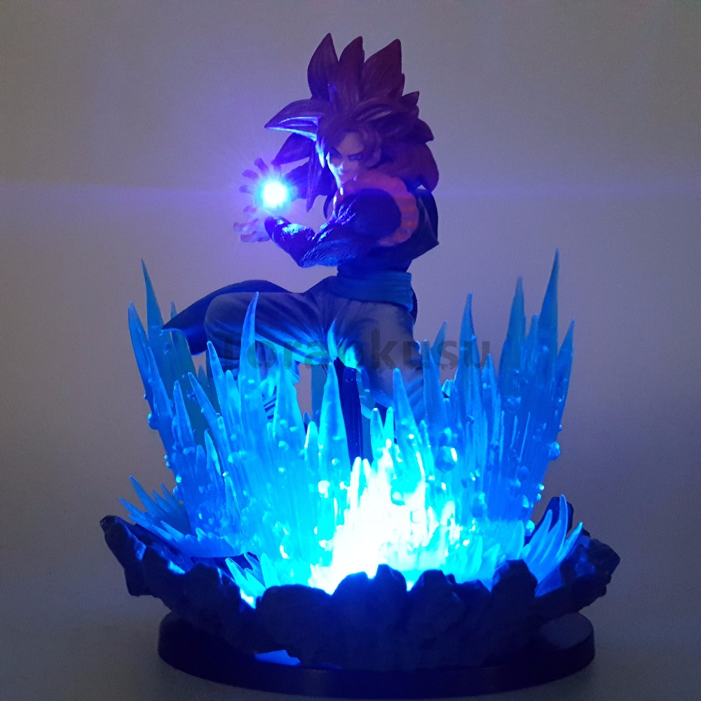 Dragon Ball Z Action Figures Goku Super Saiyan 4 Led Lights Scene Anime Dragon Ball Super Goku Gohan Figurine Model Toy DBZ 1 pcs 42 cm japanese anime dragon ball z figurine goku super saiya son goku model collectible action figure decoration boys toy