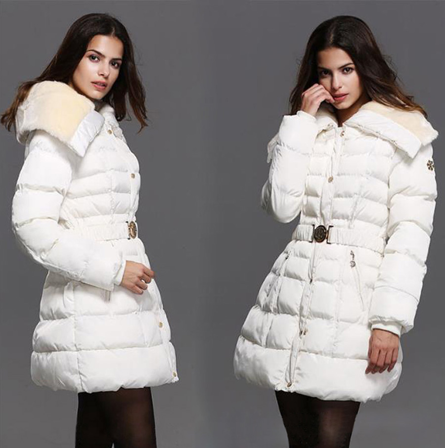 2016 Winter Women s Fashion Slim Long Section Rabbit Fur Collar with Belt White Down Cotton