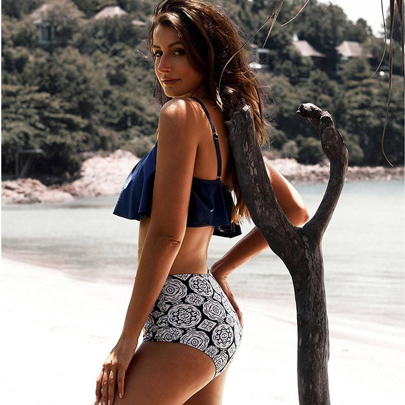 NODELAY Sexy Stripe Bikini Stroje Kąpielowe Kobiety 2018 Wysoka - Ubrania sportowe i akcesoria - Zdjęcie 6