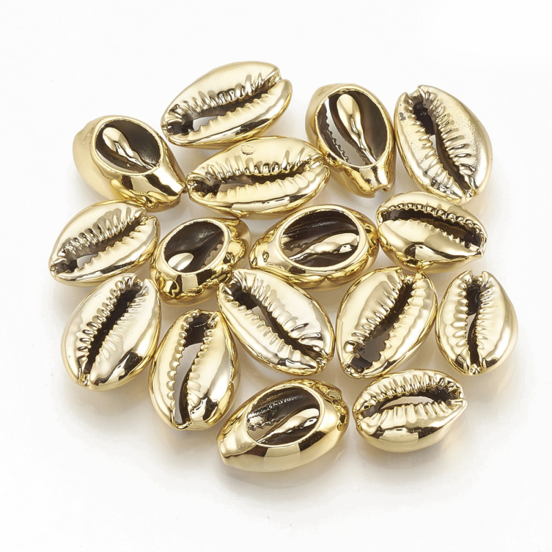 200pc Electroplated Sea Shell Beads Undrilled/No Hole Beads Cowrie Shells 15~18x10~12x6~7mm DIY Jewelry Making Supplies