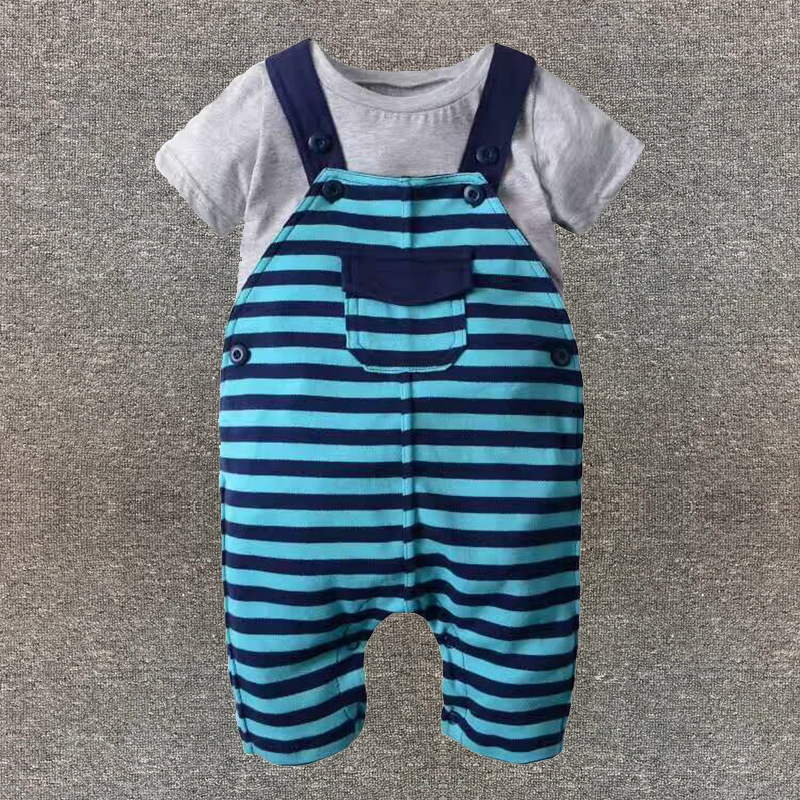 Boys and girls baby 2PCS clothing suits spring summer short-sleeved T-shirt suspenders long climb children's clothing