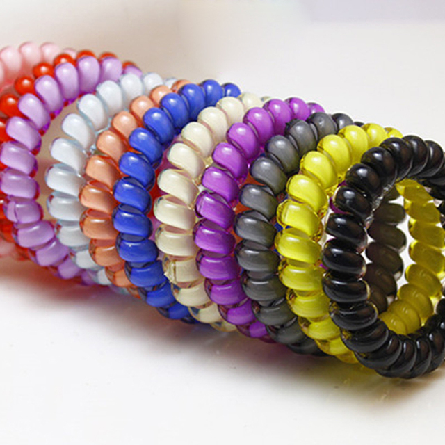 10pcs Telephone Cable Women Hair Styling Braider Ponytail Holder Elastic  Spring Hair Rubber Band Ring Ties Rope Hair Accessories 54793454b8d