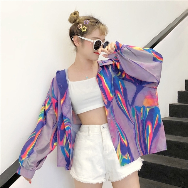 2018 New Summer Fashion Clothes Batwing Full Sleeve Sunscreen Cardigan Turn-down Collar Colorful Jacket Printed WA70814XL 1