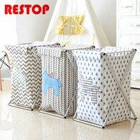 RESTOP Folding Aluminum Frame Laundry Basket Washing Laundry Bag Hamper Storage Dirty Clothing Bags Toy Storage Bag RES1049