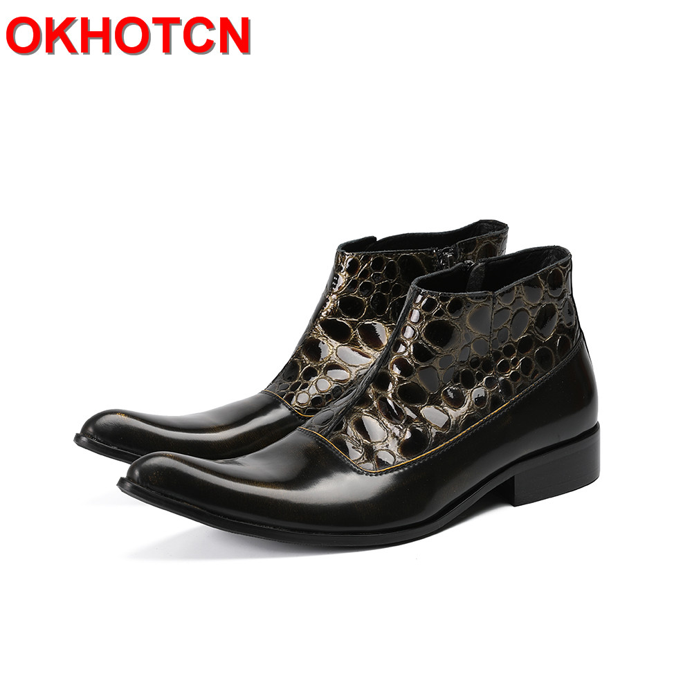 Black Mens Leather Ankle Boots Fashion Patchwork Mens Cowboy Boots Low Heel Zipper Mens Boots Plus Size Shoes Men 47 Boot Spring vasque mens boots skywalk gtx insulated 7052 black leather