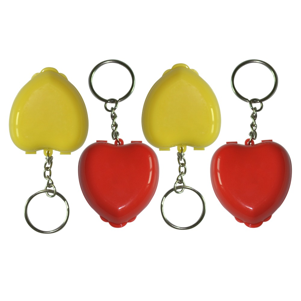New 50PCS Mini Heart Box First Aid CPR Mask With Keychian One-way Valve Mouth To Mouth Resuscitator Two Colors 50pcs hot sale cpr resuscitator mask face shield one way valve mouth to mouth breathing for first aid red nylon pouch wrapped