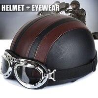 Полумотоциклетный шлем с открытым лицом, электрическая Велосипедная каска, очки, козырек для скутера, Велоспорт, туристический, винтажный ш...