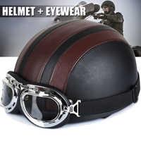 Casque de moto demi Face ouverte Casque de vélo électrique lunettes visière pour Scooter cyclisme Touring Casque vintage pour Harley